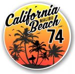 California Malibu Beach 1974 Surfer Surfing Design Vinyl Car Sticker Decal  95x95mm